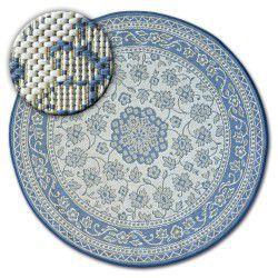 Koberec kruh FLAT 48691/591 SISAL - vitráže květiny modré