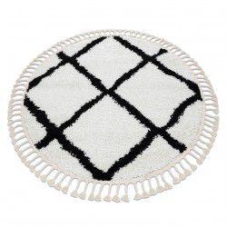 Koberec BERBER CROSS bílá Třepení berber maročtí shaggy