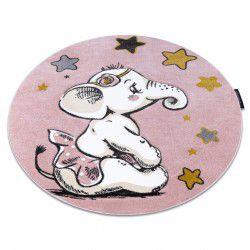 Koberec PETIT ELEPHANT SLON HVĚZDA kruh růžový