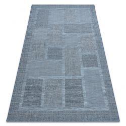 Koberec FORT SISAL 36209535 modrý čtverce rám