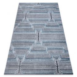Koberec Structural SIERRA G5018 ploché tkané modrý - proužky, diamanty