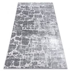 Moderní koberec MEFE 6184 Dlažba cihlový - Structural dvě úrovně rouna tmavošedý