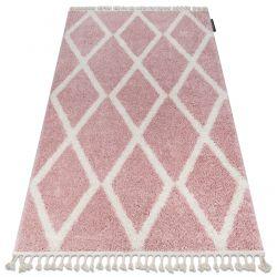 Koberec BERBER TROIK A0010 růžový / bílá Třepení berber maročtí shaggy