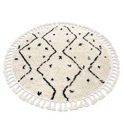 Koberec BERBER TETUAN B751 kruh cikcak krém Třepení berber maročtí shaggy