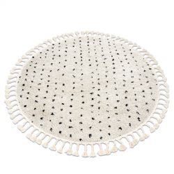 Koberec BERBER SYLA B752 kruh tečky krém Třepení berber maročtí shaggy