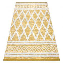 Koberec ECO SISAL BOHO MOROC Diamanty 22297 třepení - dvě úrovně rouna žlutá / krém, recyklovaný koberec