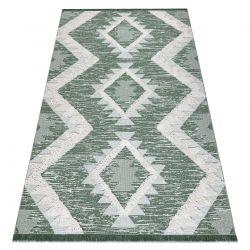 Koberec ECO SISAL BOHO MOROC Diamanty 22312 třepení - dvě úrovně rouna zelená / krém, recyklovaný koberec