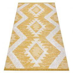 Koberec ECO SISAL BOHO MOROC Diamanty 22312 třepení - dvě úrovně rouna žlutá / krém, recyklovaný koberec