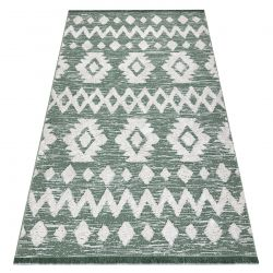 Koberec ECO SISAL BOHO MOROC Etno Zigzag 22319 třepení - dvě úrovně rouna zelená / krém, recyklovaný koberec