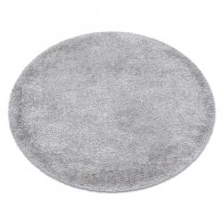 Kulatý koberec FLUFFY shaggy stříbrný