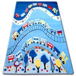 Koberec pro děti HAPPY C168 modrý Vlak